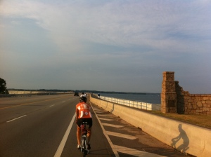 Crossing Lake Murray via the dam