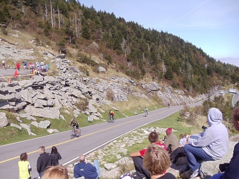 View from the stands of the last climb