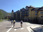 Riding by Lionshead Village in Vail.