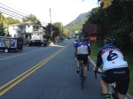 Through Lake Lure, close to the beginning of the Chimney Rock climb.