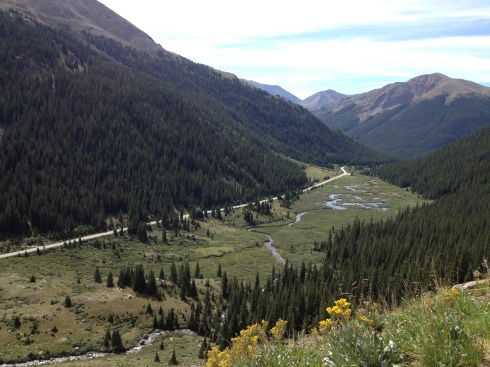 The view from the ledge up Independence Pass.