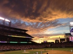A gorgeous sunset shot at the Rockies game.