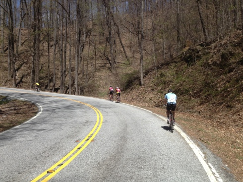 Pedaling up Caesar's Head, slowly but surely.