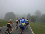 The early morning riding was in dense fog.