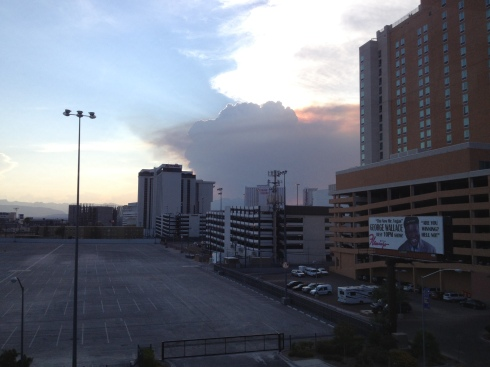 We could see the billowing smoke from the heart of Vegas.