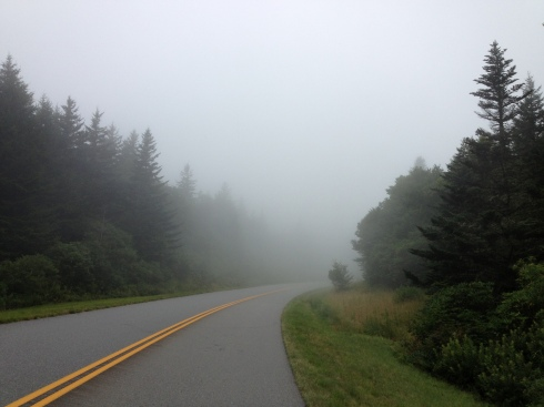 We climbed through a lot of clouds on the parkway.