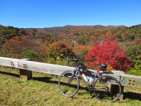 Nancy's bike near Graveyard Fields.