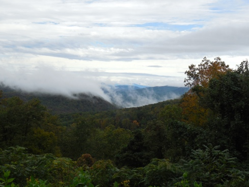 Lots of clouds were visible from the parkway, with rain fortunately far away.