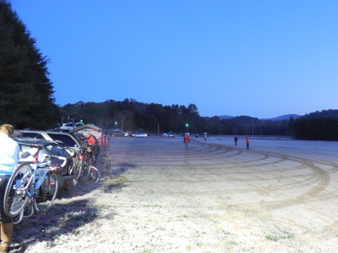 This was the rider parking lot. Yes, that is frost on the ground. It was freezing.