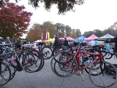 The bike racks were full at the staring line as riders warmed up.