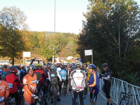 Another shot of the riders bunching up, with ride marshals getting into place.