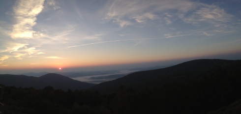 Panorama photo of sunrise from day 1 resort.