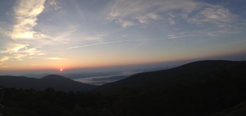 Panorama photo of sunrise from day 1 resort.