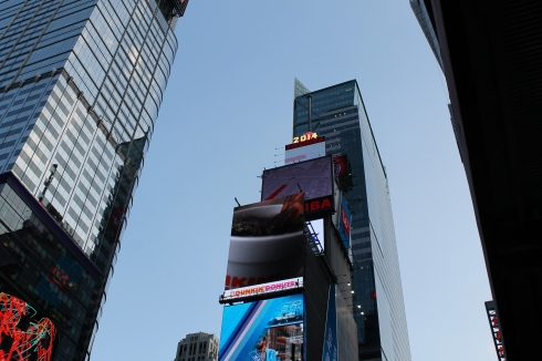 This is where the ball drops on New Years in Times Square.