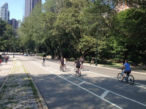 Riders were all over the place in Central Park.